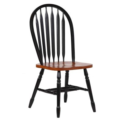 Black Cherry Selections - Arrow-back dining chair - 38 inches - finished in antique black with a Cherry seat - front view DLU-820-BCH-2