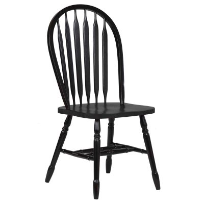 Black Cherry Selections - Arrow-back dining chair - finished in antique black - front view - DLU-820-AB-2