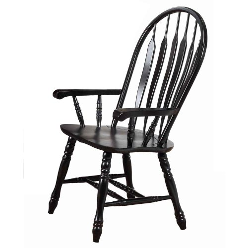 Black Cherry Selections - Comfort dining armchair finished in antique black - angled three-quarter view DLU-4130-AB-A