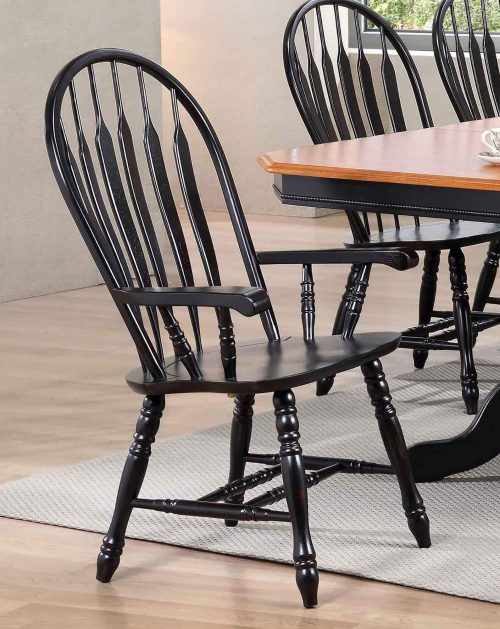 Black Cherry Selections - Comfort dining armchair finished in antique black - dining room setting DLU-4130-AB-A