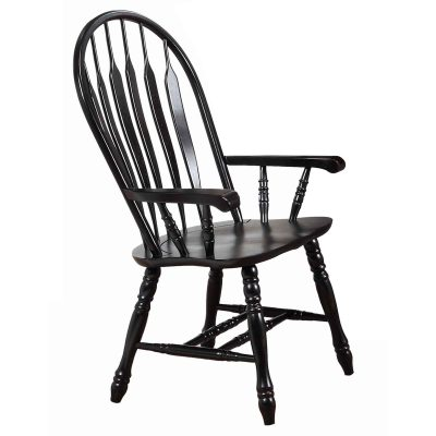 Black Cherry Selections - Comfort dining armchair finished in antique black - three-quarter view DLU-4130-AB-A