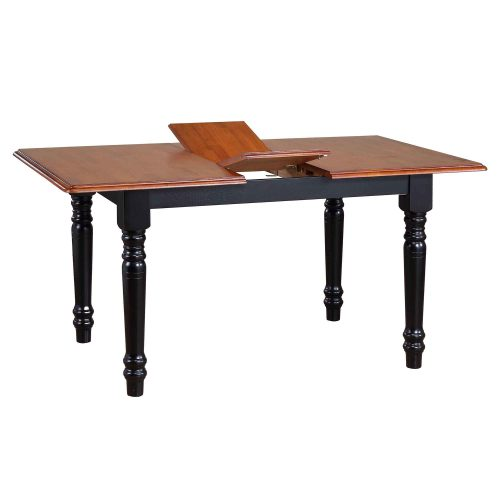 Black Cherry Selections - Extendable Butterfly dining table - finished in antique black with a cherry top - detail of butterfly leaf DLU-TLB3660-BCH