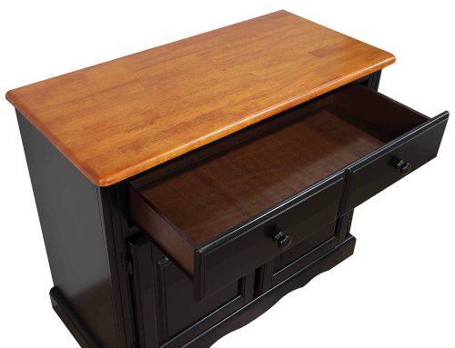 Black Cherry Selections - Keepsake Buffet and lighted hutch in Antique black with Cherry accents detail of top and open drawer DLU-19-BH-BCH