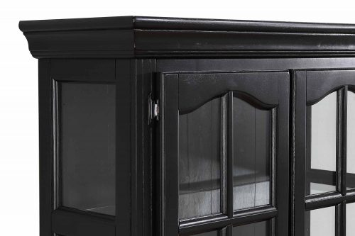 Black Cherry Selections - Keepsake Buffet and lighted hutch in Antique black with Cherry accents detail of top molding and doors DLU-19-BH-BCH