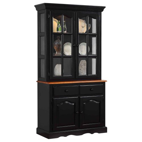 Black Cherry Selections - Keepsake Buffet and lighted hutch in Antique black with Cherry accents three-quarter view DLU-19-BH-BCH