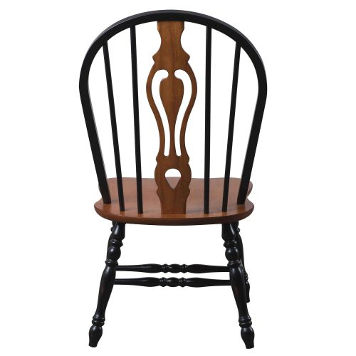Black Cherry Selections - Keyhole back dining chair - 41 inches - finished in antique black with cherry accents and seat - back view - DLU-124-S-BCH-2