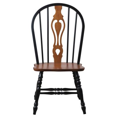 Black Cherry Selections - Keyhole back dining chair - 41 inches - finished in antique black with cherry accents and seat - front view - DLU-124-S-BCH-2