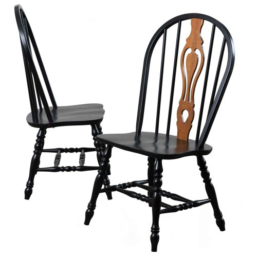 Black Cherry Selections - Keyhole back dining chairs - 41 inches - finished in antique black with cherry accents DLU-124-S-AB-2