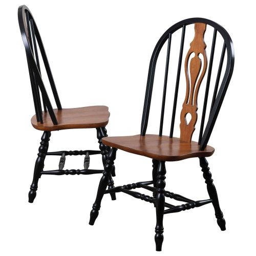 Black Cherry Selections - Keyhole back dining chairs - 41 inches - finished in antique black with cherry accents and seat - DLU-124-S-BCH-2
