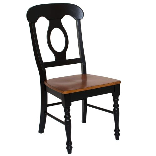 Black Cherry Selections - Napoleon dining chair finished in antique black with a cherry seat - front view DLU-C50-BCH-2