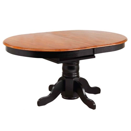 Black Cherry Selections - Pedestal dining table with Butterfly top finished in antique black with a Cherry top - closed position DLU-TBX4266-BCH