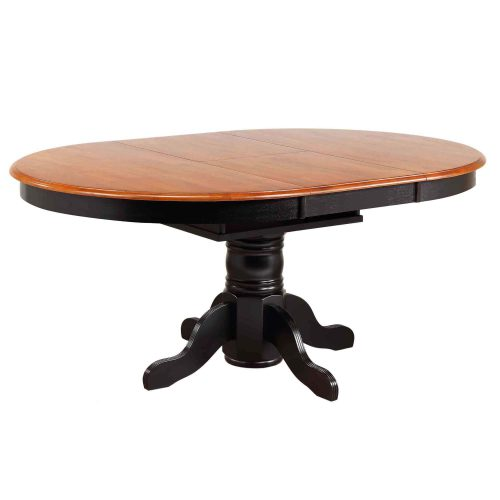Black Cherry Selections - Pedestal dining table with Butterfly top finished in antique black with a Cherry top - extended position DLU-TBX4266-BCH