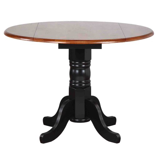 Black Cherry Selections - Round drop leaf dining table finished in antique black with cherry top DLU-TPD4242-BCH