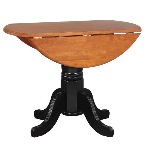 Black Cherry Selections - Round drop leaf dining table finished in antique black with cherry top - leaf down DLU-TPD4242-BCH