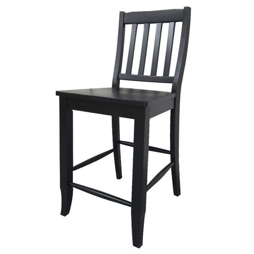 Black Cherry Selections - Schoolhouse counter height stool finished in antique black - angled view DLU-B20-AB-2