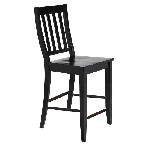 Black Cherry Selections - Schoolhouse counter height stool finished in antique black - three-quarter view DLU-B20-AB-2