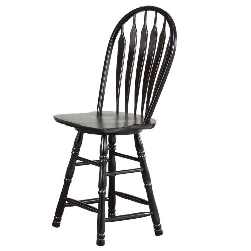 Black Cherry Selections - Swivel barstool - 24 inches - finished in antique black - angled three-quarter view DLU-B24-AB