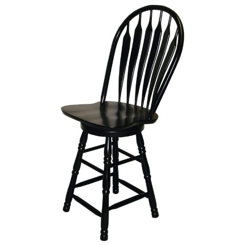 Black Cherry Selections - Swivel barstool - 24 inches - finished in antique black - angled view DLU-B24-AB