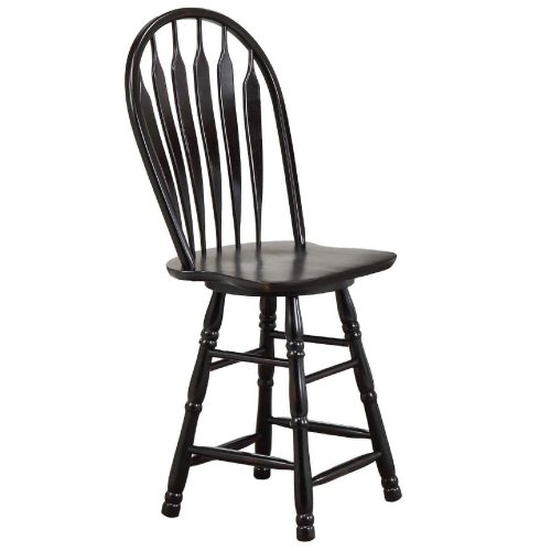 Black Cherry Selections - Swivel barstool - 30 inches high - finished in antique black - three-quarter view DLU-B30-AB