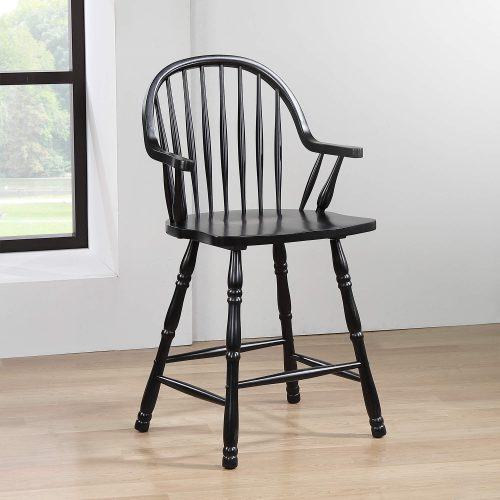 Black Cherry Selections - Windsor counter height stool with arms - finished in antique black - dining room setting DLU-B3024A-AB-2