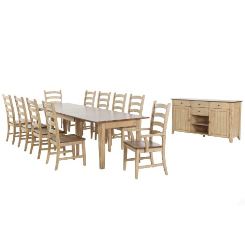 Brook Dining - 12-piece dining set - Extendable dining table - two armchairs - eight dining chairs - sideboard - fininshed in creamy wheat with a Pecan tops and seats DLU-BR134-PW12PC
