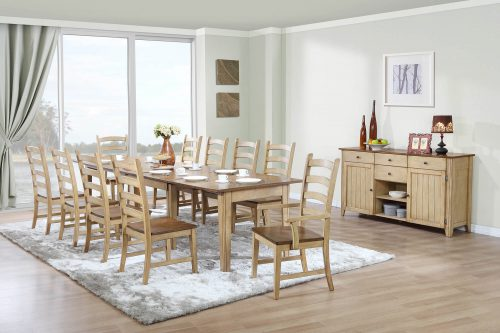 Brook Dining - 12-piece dining set - Extendable dining table - two armchairs - eight dining chairs - sideboard - fininshed in creamy wheat with a Pecan tops and seats - dining room setting DLU-BR134-PW12PC