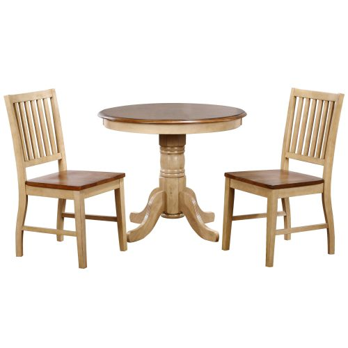 Brook Dining - 3-piece dining set - Round dining table with two slat back chairs finished in creamy wheat with pecan top and seats DLU-BR3636-C60-PW3PC