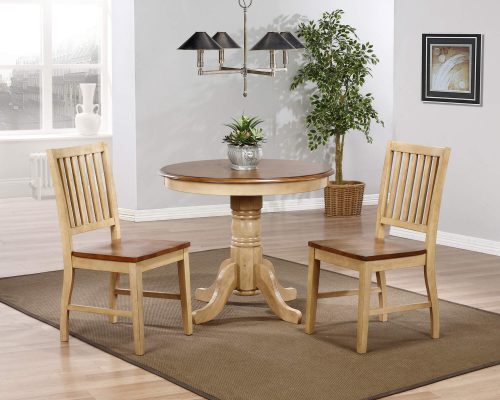 Brook Dining - 3-piece dining set - Round dining table with two slat back chairs finished in creamy wheat with pecan top and seats - dining room setting DLU-BR3636-C60-PW3PC