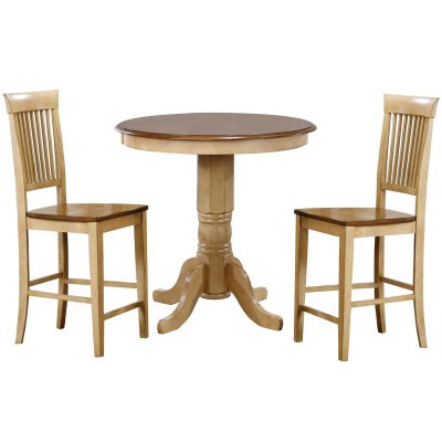 Brook Dining - 3-piece dining set - round pub height dining table with two Fancy Slat stools finished in creamy wheat with a Pecan top and seats DLU-BR3636CB-B70-PW3PC
