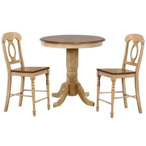 Brook Dining - 3-piece dining set - round pub height dining table with two Napoleon stool finished in creamy wheat with a Pecan top and seats DLU-BR3636CB-B50-PW3PC