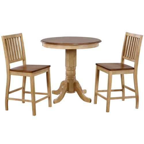 Brook Dining - 3-piece dining set - round pub height dining table with two Slat-back stools finished in creamy wheat with a Pecan top and seats DLU-BR3636CB-B60-PW3PC
