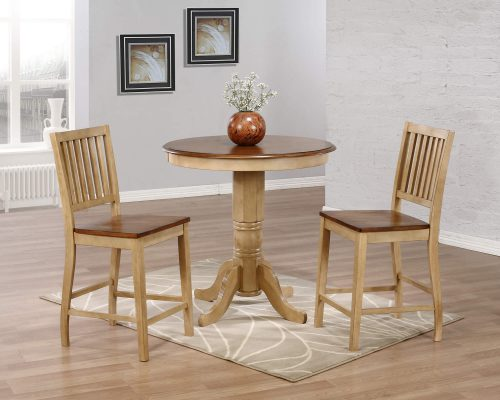 Brook Dining - 3-piece dining set - round pub height dining table with two Slat-back stools finished in creamy wheat with a Pecan top and seats - dining room setting DLU-BR3636CB-B60-PW3PC