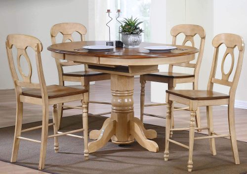 Brook Dining 5-piece dining set - Extendable pedestal dining table with four Napoleon chairs - Finished in creamy wheat with a Pecan top and seats - dining room setting DLU-BR4260CB-B50-PW5PC