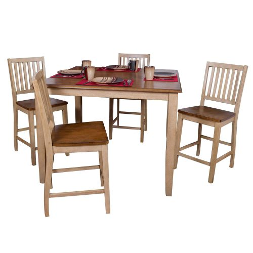 Brook Dining 5-piece dining set - Square pub table - four slat-back stools - Finished in creamy wheat with Pecan top and seats DLU-BR4848CB-B60-PW5PC