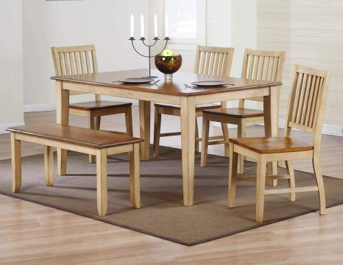 Brook Dining - 6-piece dining set - Rectangular dining table with four slat-back chairs and a dining bench - Finished in creamy wheat with a Pecan top and seats dining room setting DLU-BR3660-C60-BNPW6PC