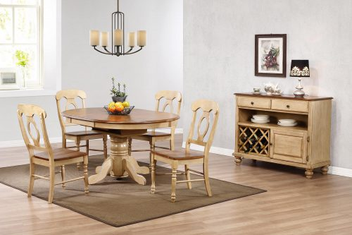 Brook Dining - 6-piece dining set - Round dining table with Butterfly leaf - four Napoleon chairs and a server - Finished in creamy wheat with a Pecan top and seats and accents - dining room setting DLU-BR4260-C50-SRPW6PC