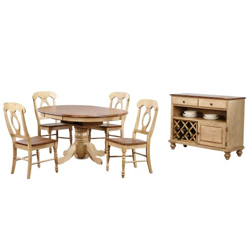 Brook Dining - 6-piece dining set - Round dining table with Butterfly leaf - four Napoleon chairs and a server - Finished in creamy wheat with a Pecan top and seats and accents DLU-BR4260-C50-SRPW6PC