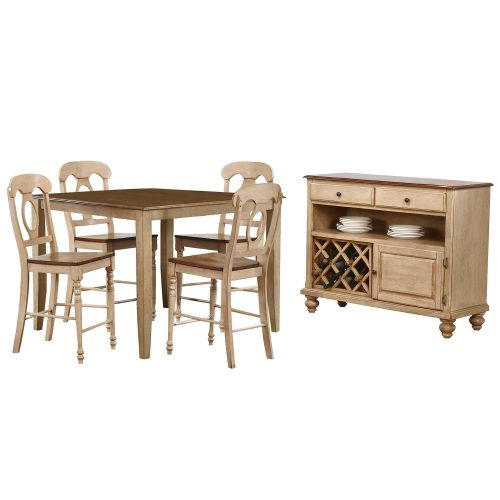 Brook Dining 6-piece dining set - Square pub table - four Napoleon stools - server - Finished in creamy wheat with Pecan accents DLU-BR4848CB-B50-SRPW6PC