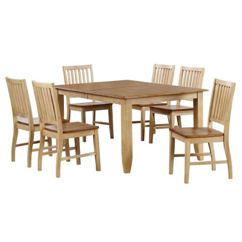 Brook Dining 7-piece dining set - Extendable dining table with six slat-back chairs - finished in creamy wheat with a Pecan top and seats DLU-BR4272-C60-PW7PC