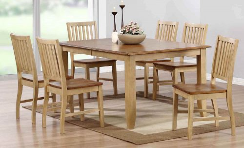 Brook Dining 7-piece dining set - Extendable dining table with six slat-back chairs - finished in creamy wheat with a Pecan top and seats - dining room setting DLU-BR4272-C60-PW7PC