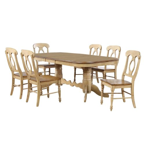Brook Dining 7-piece dining set - Extendable pedestal table with six Napoleon chairs - finished in creamy wheat with a Pecan top and seats DLU-BR4296-C50-PW7PC