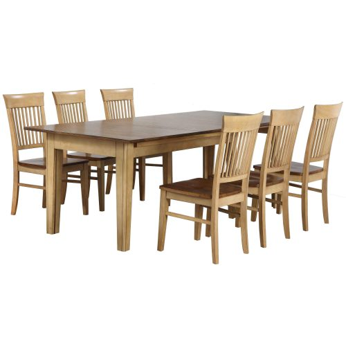 Brook Dining - 7-piece dining set - extendable dining table and six slat back chairs DLU-BR134-C70-PW7PC