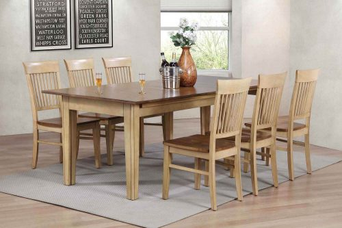 Brook Dining - 7-piece dining set - extendable dining table and six slat back chairs - dining room setting DLU-BR134-C70-PW7PC