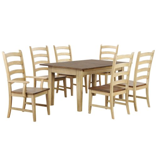 Brook Dining - 7-piece dining set - extendable dining table - two armchairs and four dining chairs - creamy wheat finish with Pecan top and seats DLU-BR134-PW7PC