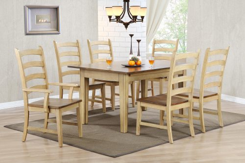 Brook Dining - 7-piece dining set - extendable dining table - two armchairs and four dining chairs - creamy wheat finish with Pecan top and seats dining room setting DLU-BR134-PW7PC