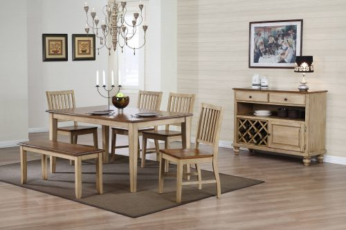 Brook Dining - 7-piece dining set - server - dining table - four chair - dining bench finished in a creamy wheat with Pecan seat and accents - DLU-BR-TL-3660-PW, DLU-BR-C60-PW-RTA, DLU-BR-BENCH-PW-RTA