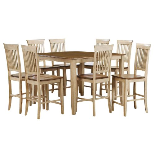 Brook Dining 9-piece dining set - Square pub table with eight fancy slat stools - Finished in creamy wheat with Pecan top and seats DLU-BR4848CB-B70-PW9PC
