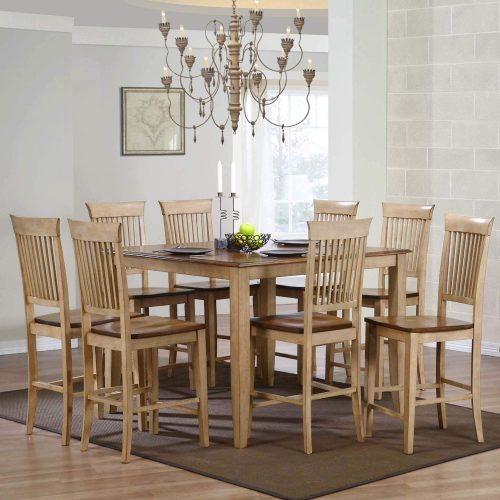 Brook Dining 9-piece dining set - Square pub table with eight fancy slat stools - Finished in creamy wheat with Pecan top and seats dining room setting DLU-BR4848CB-B70-PW9PC