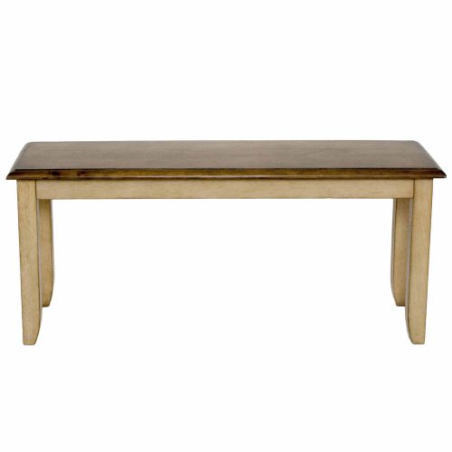 Brook Dining - Dining bench finished in a creamy wheat with Pecan seat - front view DLU-BR-BENCH-PW-RTA