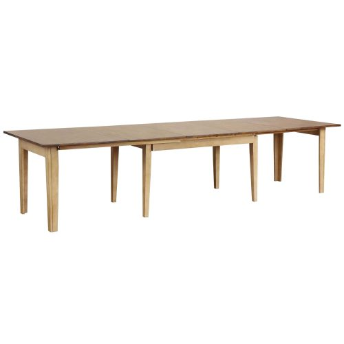 Brook Dining - Extendable dining table in creamy wheat finish with Pecan top fully extended - DLU-BR134-PW